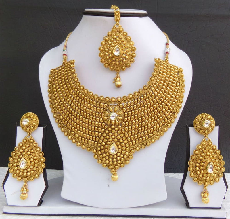 Indian Jewelry Necklace Earrings Bollywood Gold Plated Bridal Polki Tikka Set cx JEWELRY SETS