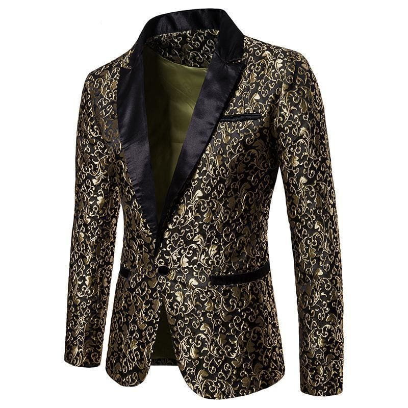 Jacquard Bronzing Floral Party Blazer-JACKETS-US MART NEW YORK