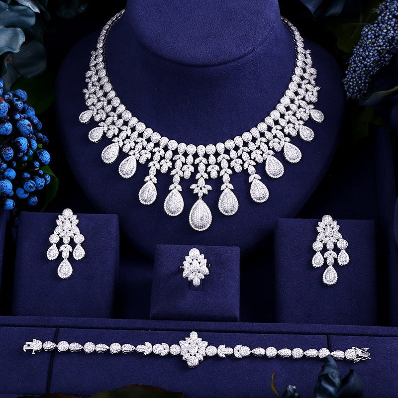 Luxury Cubic Zirconia Jewelry Sets With Necklace, Bracelet, Earrings and Ring