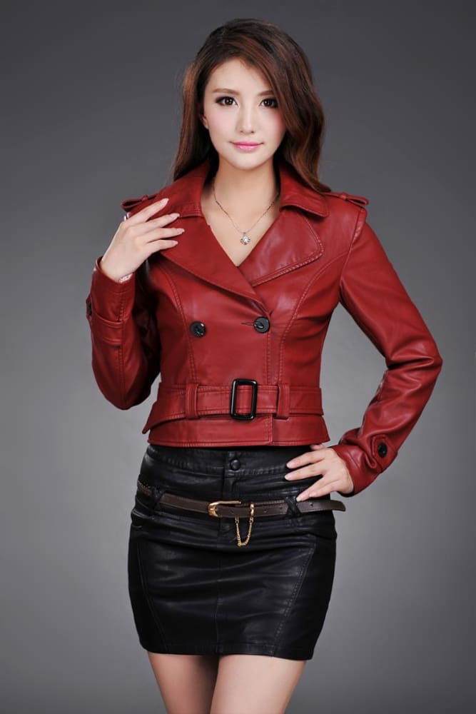 Ladies Faux Synthetic Long Leather Trench Coat-LEATHER JACKETS-US MART NEW YORK