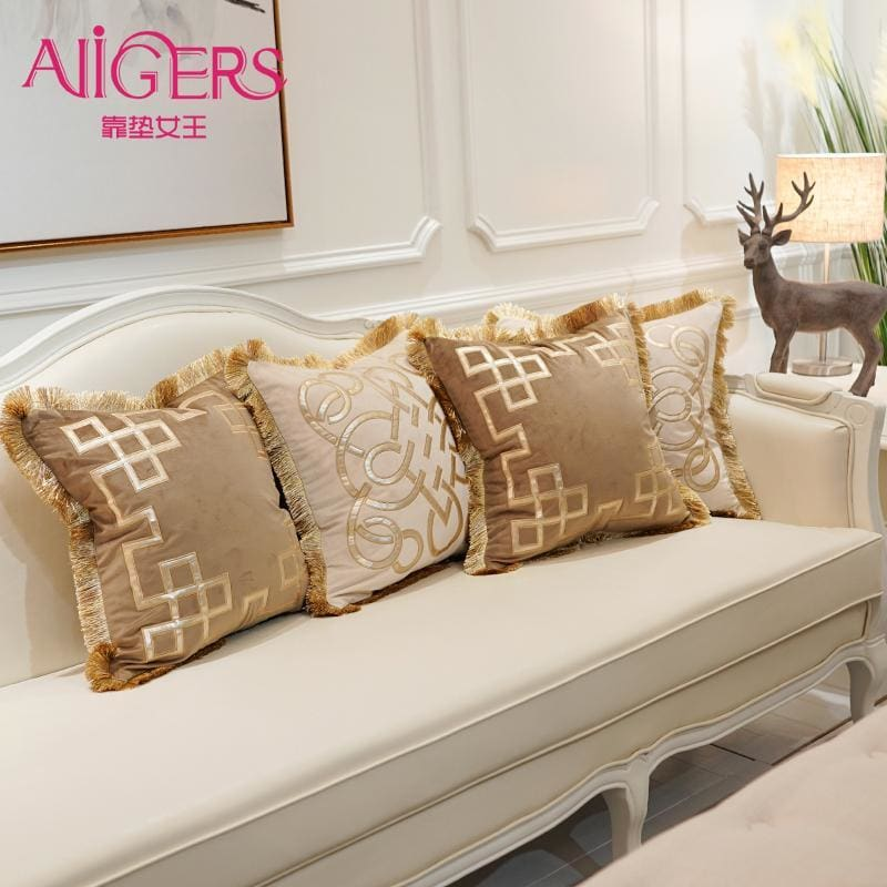 Luxury Embroidery Velvet Tassel Cushion Cover-PILLOWS & COVERS-US MART NEW YORK