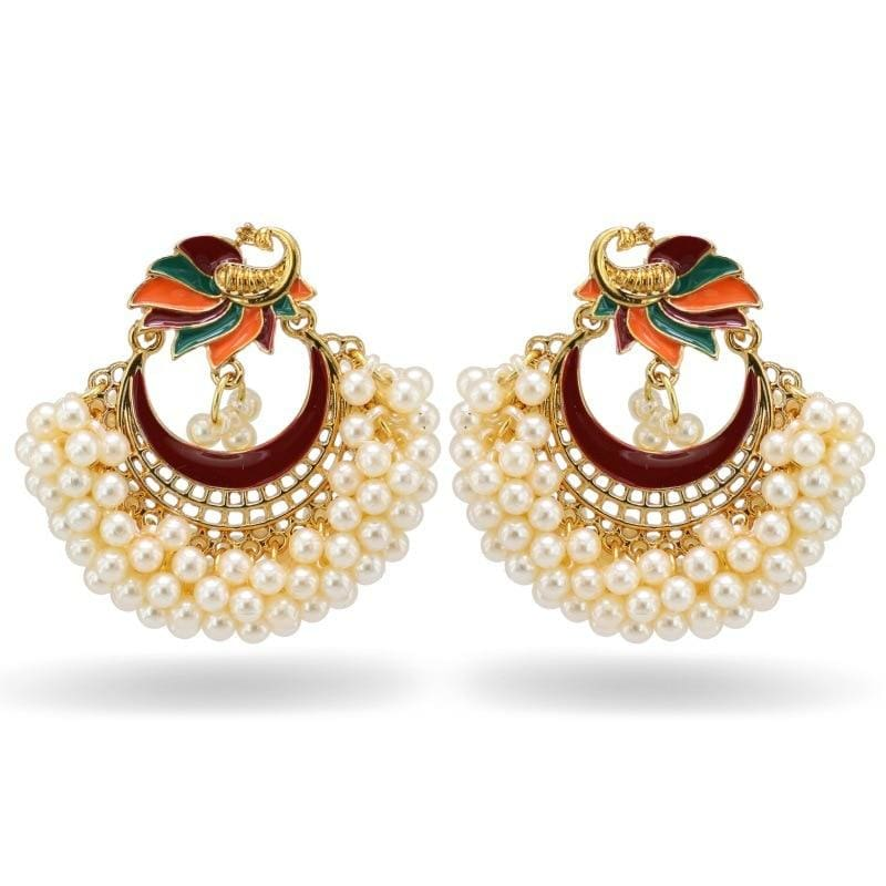 Luxury Indian Jhumki Earrings Simulated Pearls EARRINGS
