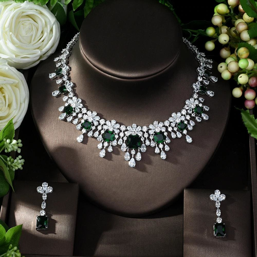 Luxury Sparking Cubic Zircon Necklace Earrings Silver / 7 JEWELRY SETS