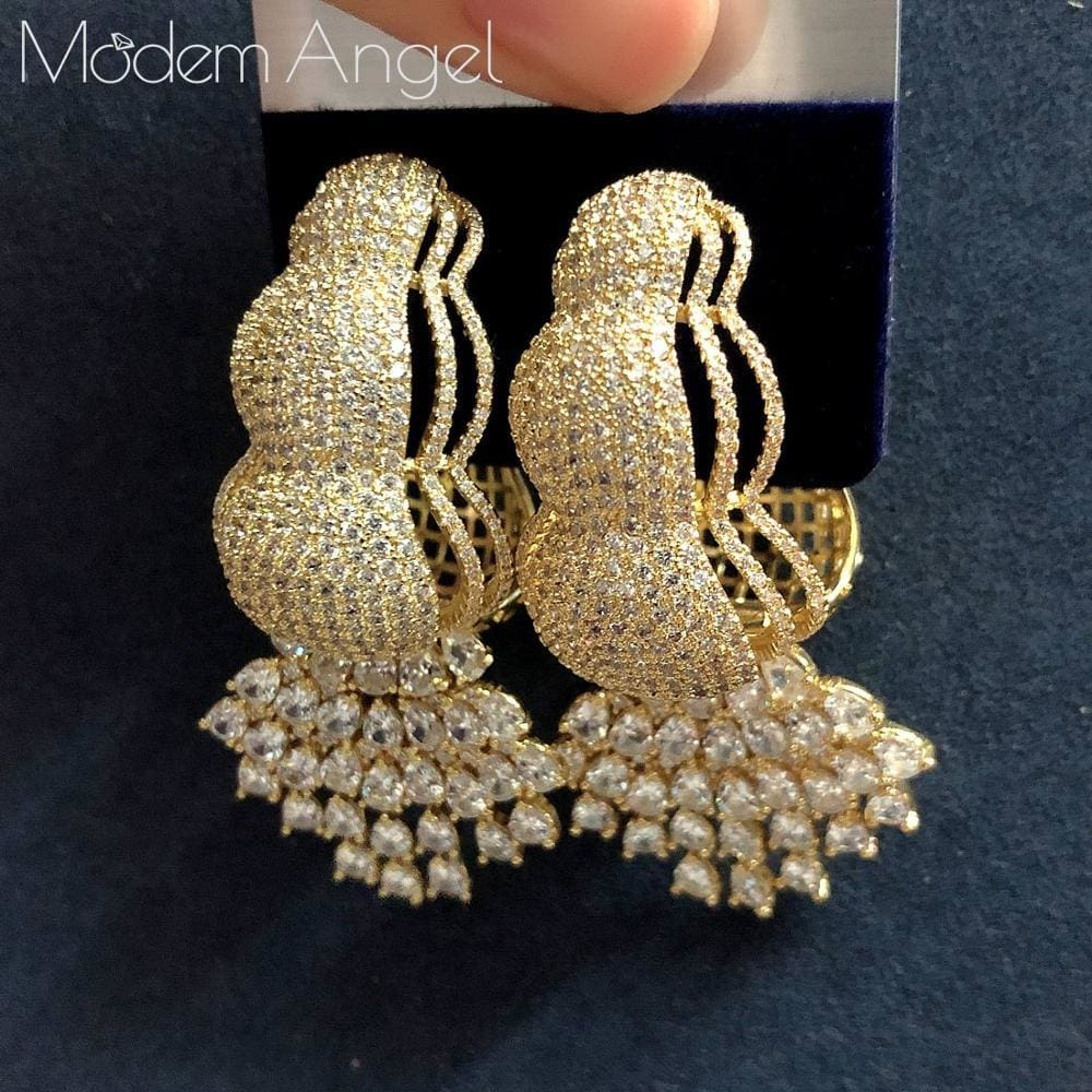 ModemAngel New Arrived Flower Shape Hoop Earrings Gold-color