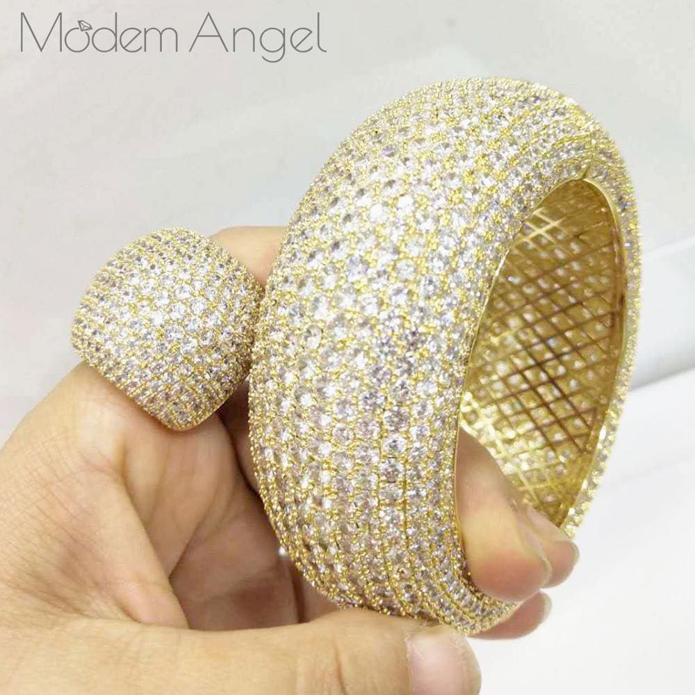 ModemAngel Trendy Luxury Saudi Arabia Big Bangle Ring Set JEWELRY SETS