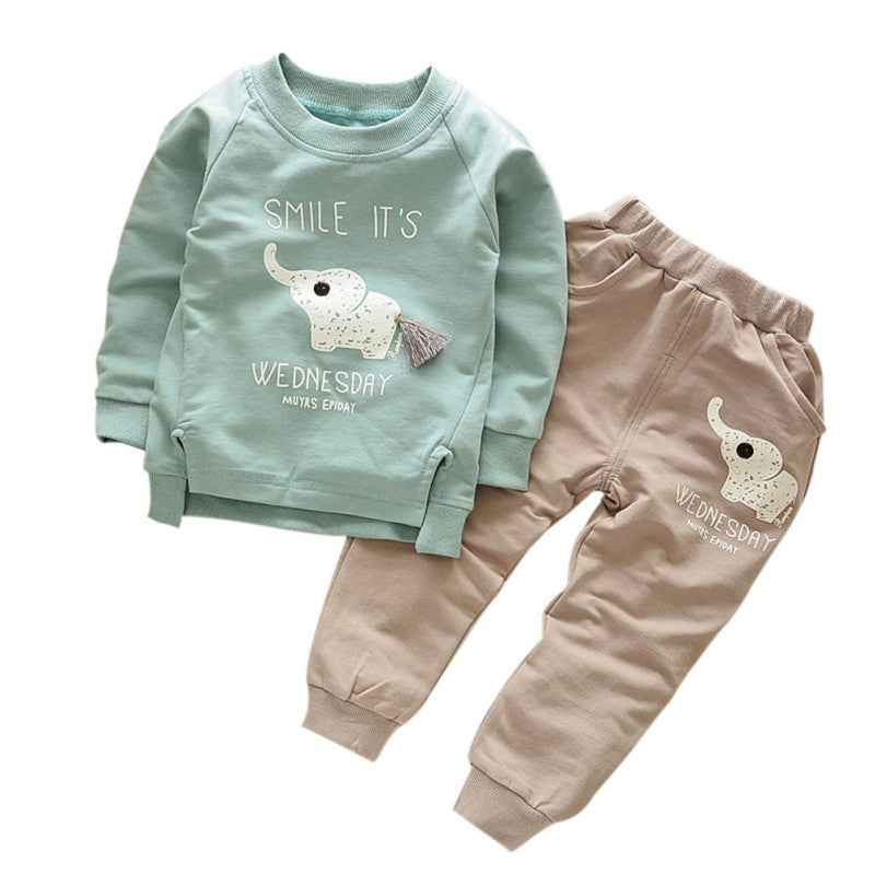 Foe Kids Clothes Autumn/Winter Baby Boys Girls Cartoon Elephant Cotton Set Children Clothing Sets Child T-Shirt+Pants Suit-BOY CLOTHING-US MART NEW YORK