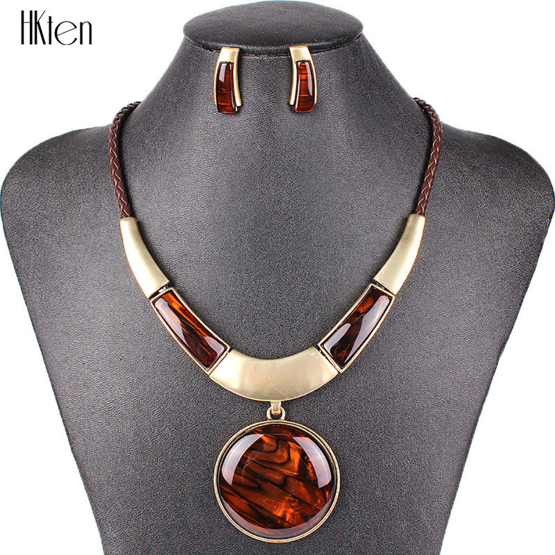 MS20129 Fashion Brand Jewelry Sets Round Pendant 5 Colors Faux Leather Rope High Quality Wholesale Price Party Gifts - USMART NEW YORK