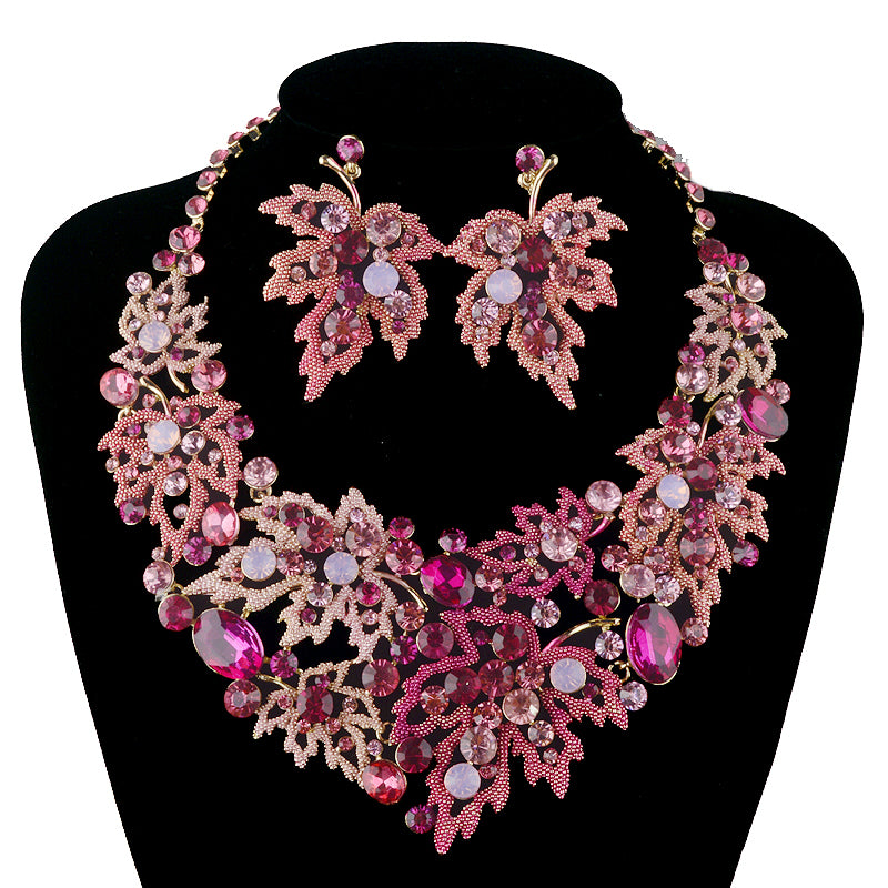 Wedding Necklace sets maple leaf style Necklace crystal bridal Jewelry sets-JEWELRY SETS-US MART NEW YORK