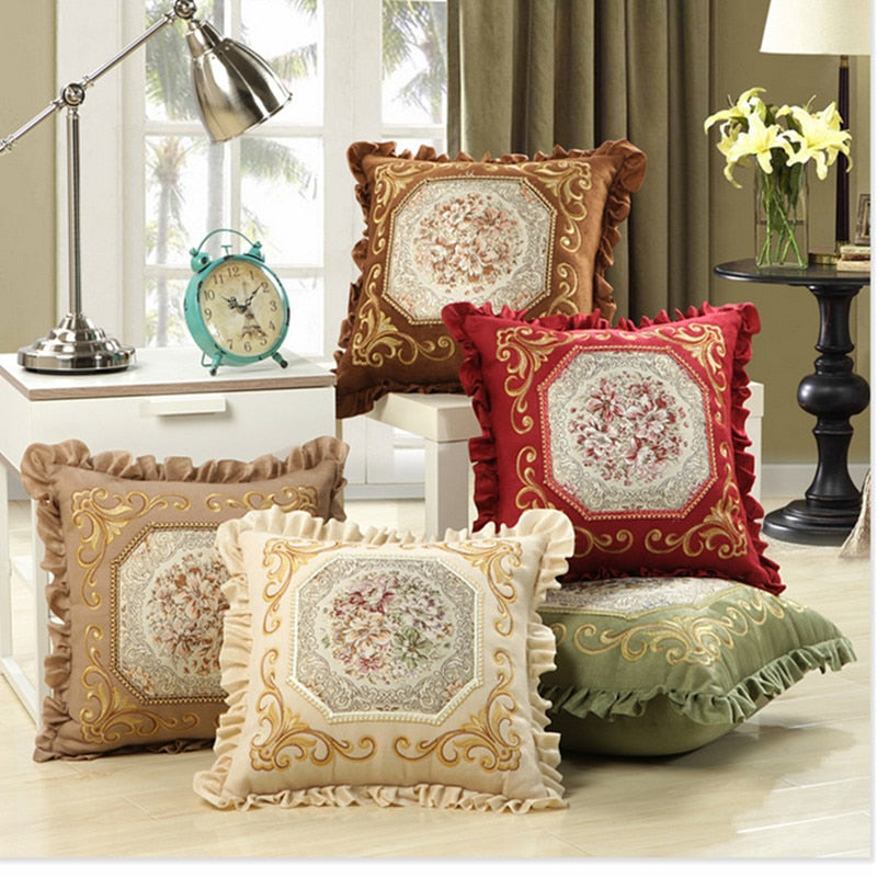 Luxurious Embroidery Velour Home Decor Cushion Decoration Lace Pillow-PILLOWS & COVERS-US MART NEW YORK