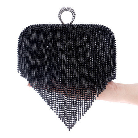 Tassel Rhinestone Finger Ring Evening Bags Diamonds Wedding Handbags Women Day Clutch Mini Purse Bag With Chain Mixed Color-WEDDING PURSE-US MART NEW YORK