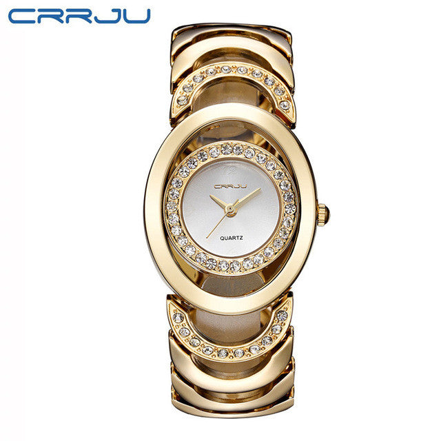 CRRJU Luxury Women Watch Famous Brands Gold Fashion Design Bracelet Watches Ladies Women Wrist Watches Relogio Femininos-WOMEN WATCHES-US MART NEW YORK