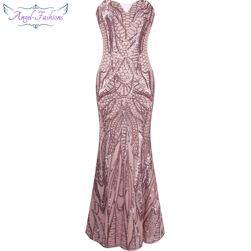 Angel-fashions vestido de festa Vintage Flapper Sequined Mermaid Long Evening Dress Abendkleid Pink-Dresses-US MART NEW YORK