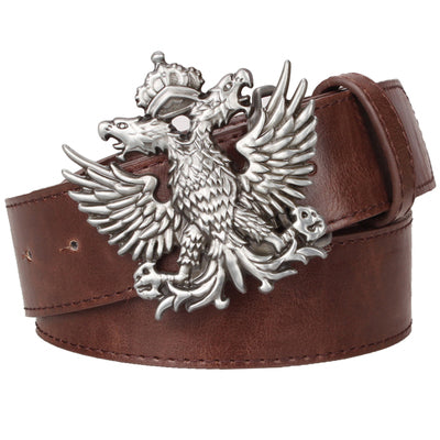 Cool men's leather belt Headed eagle hip hop punk belt metal Double headed eagle pattern belt rock dress up strap-MEN WAIST STRAP BELT-US MART NEW YORK