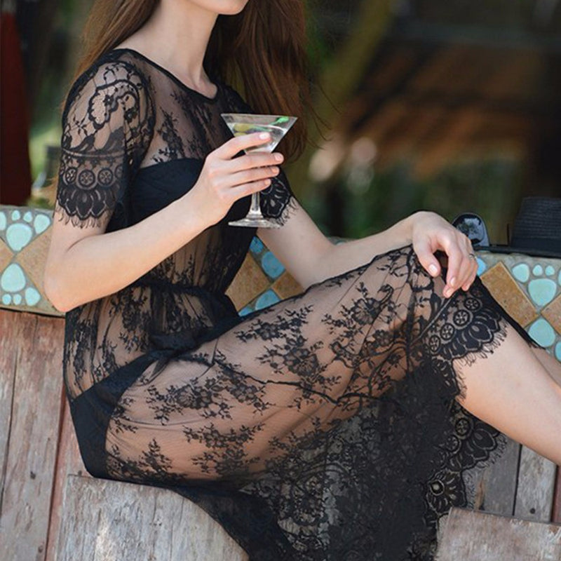 Summer Women Midi Dresses Long Black Short Sleeve O Neck See Through Beach Wear Lace Sexy Dress-BEACH WEARS-US MART NEW YORK