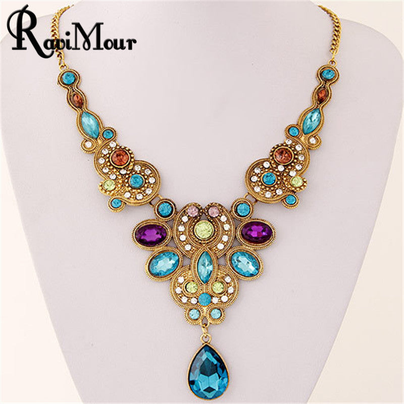 RAVIMOUR Long Blue Crystal Necklace for Women Vintage Gold Color Statement Necklaces & Pendants Indian Choker Colar Jewelry - USMART NEW YORK