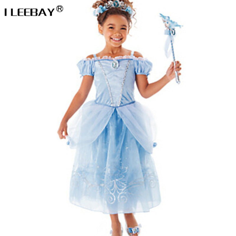Sofia Cinderella Rapunzel Belle Snow White 2017 Girls Kids Short Sleeve Princess Dresses Up Teenage Party Dress Cosplay Costume-GIRL DRESSES-US MART NEW YORK