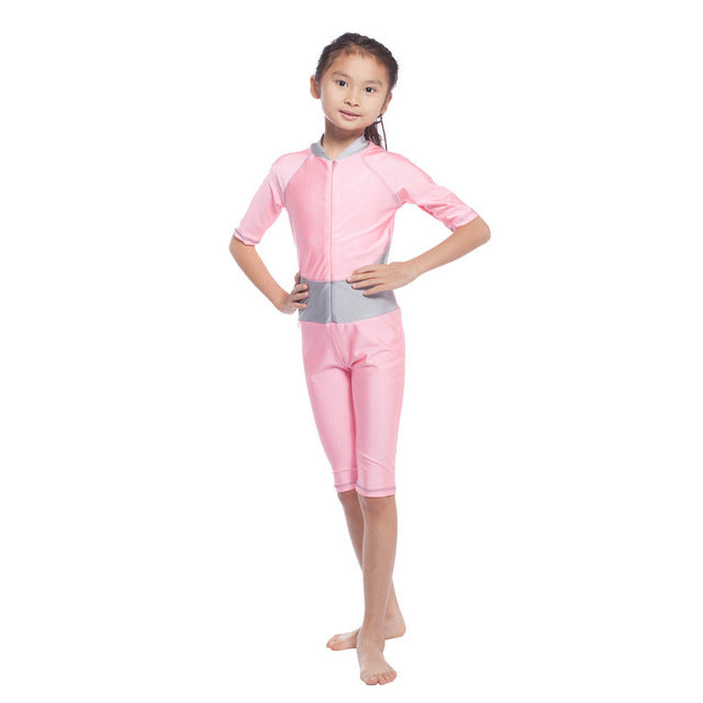 Girls Muslim Swimwears Children Swimsuits One-piece Short Sleeve Modest Islamic Hijab Burkinis For Muslim Girls Surf Suits S-XL-HIJAB & BURKA-US MART NEW YORK