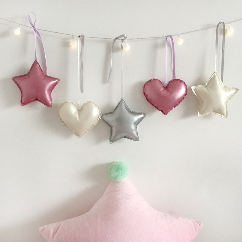 14CM Kawaii Gold/Pink/Silver Heart Shape Pillow Soft Star Stuffed Toy Baby Dolls Gift-PILLOWS & COVERS-US MART NEW YORK