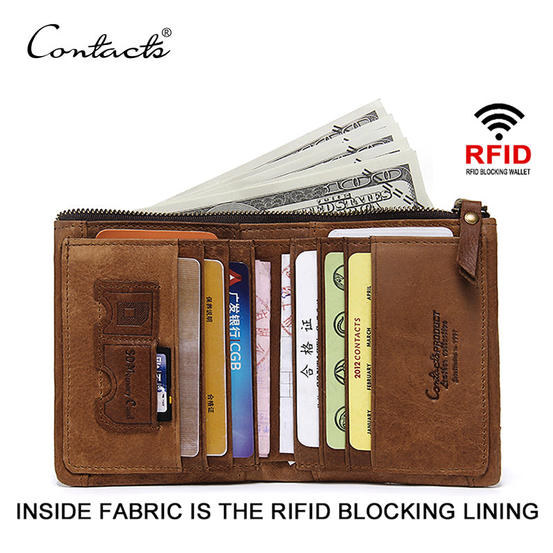 CONTACT'S RFID Blocking Bifold Slim Genuine Leather Thin Wallets for Men Purse ID/Credit Card Holder Fashion New Short Wallet-MEN WALLETS-US MART NEW YORK