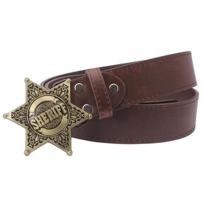 Fashion Men's belt metal buckle belts Sheriff badge Retro Hexagon star sign western style cowboy Pu leather belt-MEN WAIST STRAP BELT-US MART NEW YORK