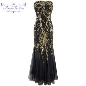 Angel-fashions Strapless Golden Branch Sequined Mermaid Full Length Evening Dress-Dresses-US MART NEW YORK