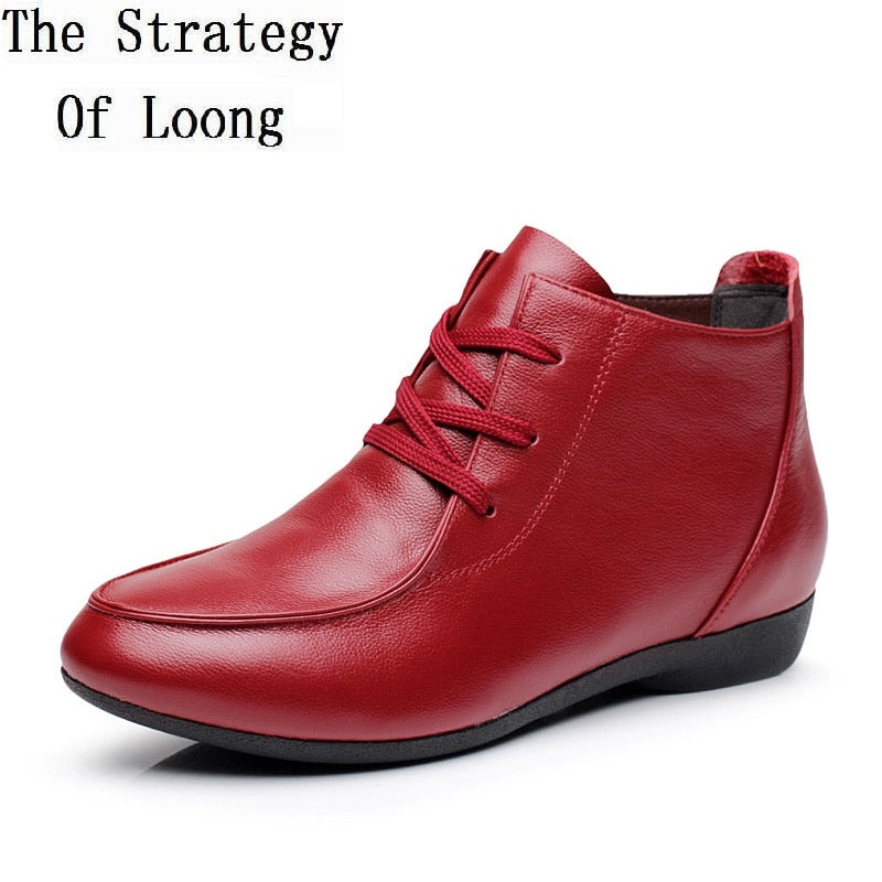 Spring and Autumn Ankle Boots Genuine Leather Boots Casual Boots Lace Up Women Shoes Leather Winter
