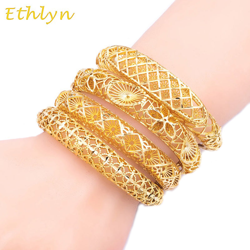 Inverted mold Jewelry Gold Color Dubai Bangles for Women's,Africa Bracelet With Lobster Clasp, Ethiopian Jewelry-Bracelets-US MART NEW YORK