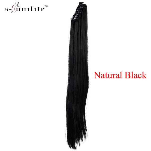 SNOILITE Synthetic Women Claw on Ponytail Clip in Hair Extensions Curly Style Pony Tail Hairpiece Black Brown Blonde hairstyles