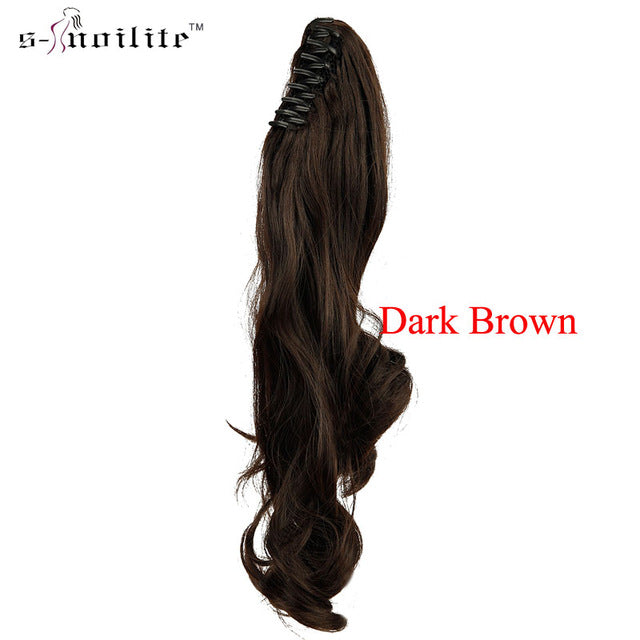 SNOILITE Synthetic Women Claw on Ponytail Clip in Hair Extensions Curly Style Pony Tail Hairpiece Black Brown Blonde hairstyles-HAIR EXTENSIONS-US MART NEW YORK