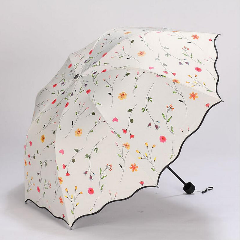 Flower Women's Umbrella Folding Wind Resistant Summer Sun Umbrella Parasol UV Protection Flower Women's Umbrella-UMBRELLA-US MART NEW YORK