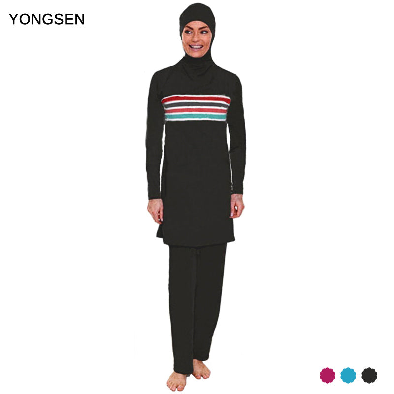 1391ab5643745 YONGSEN Plus Size Muslim Swimwear Women Modest Patchwork Full Cover  Swimsuit Islamic Hijab Islam Burkinis Wear