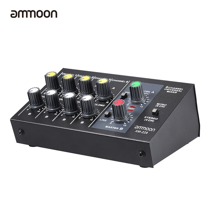 AM-228 Ultra-compact Low Noise 8 Channels Metal Mono Stereo Audio Sound Mixer with Power Adapter Cable-Adapters and Cables-US MART NEW YORK