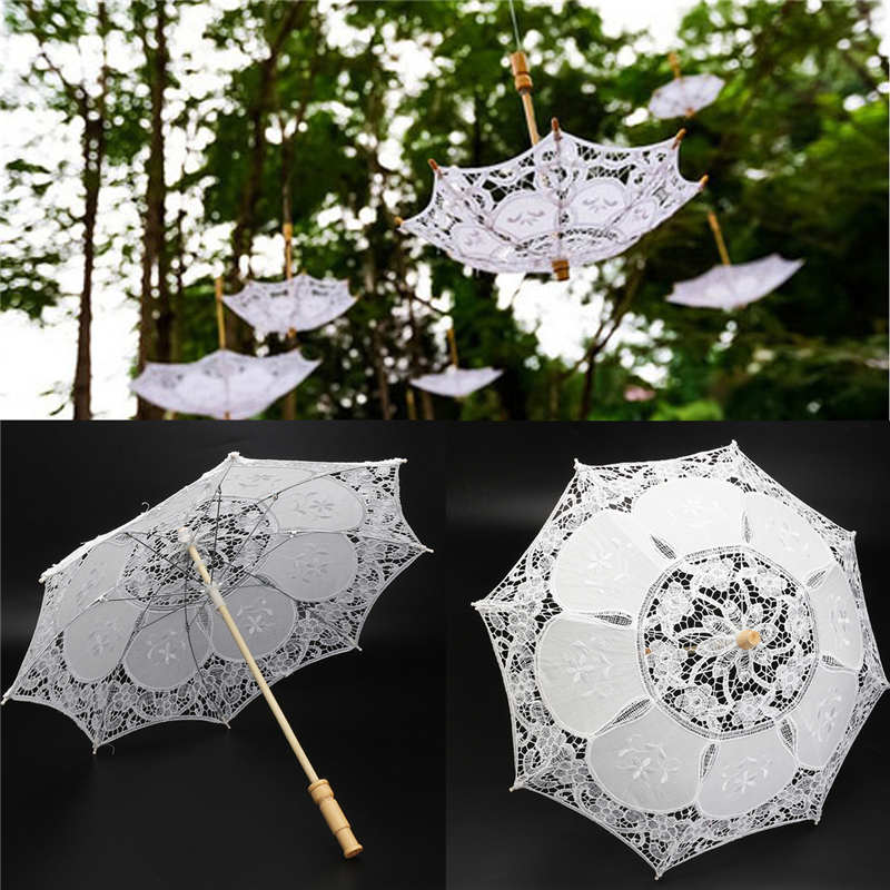 23inch White Lace Embroidered Parasol Sun Umbrella Bridal Wedding Party Decorative Supplies-UMBRELLA-US MART NEW YORK
