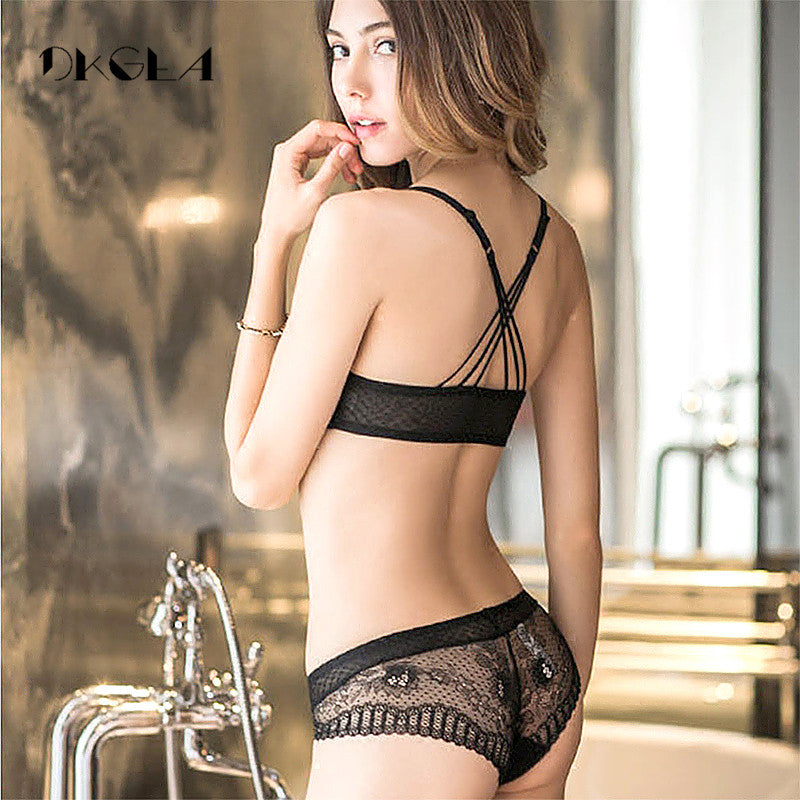 New Arrivals Front Closure Bras Lace Embroidery Gathering Underwear Set Women Sexy VS Lingerie Black Thick Push Up Bra Set-LINGERIE-US MART NEW YORK