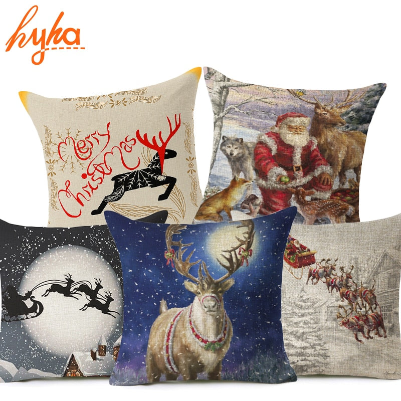 Christmas Deer Cushion Cover Cotton Linen Xmas Deer Santa Claus Pillows Cover-PILLOWS & COVERS-US MART NEW YORK