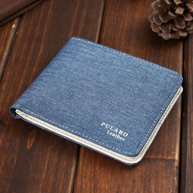 2017 Hot Selling! Mens Short Denim Fabric Wallet Best Soft Canvas Purse Bifold Fashion Ultra-thin Male Wallet Casual Money Bag-MEN WALLETS-US MART NEW YORK
