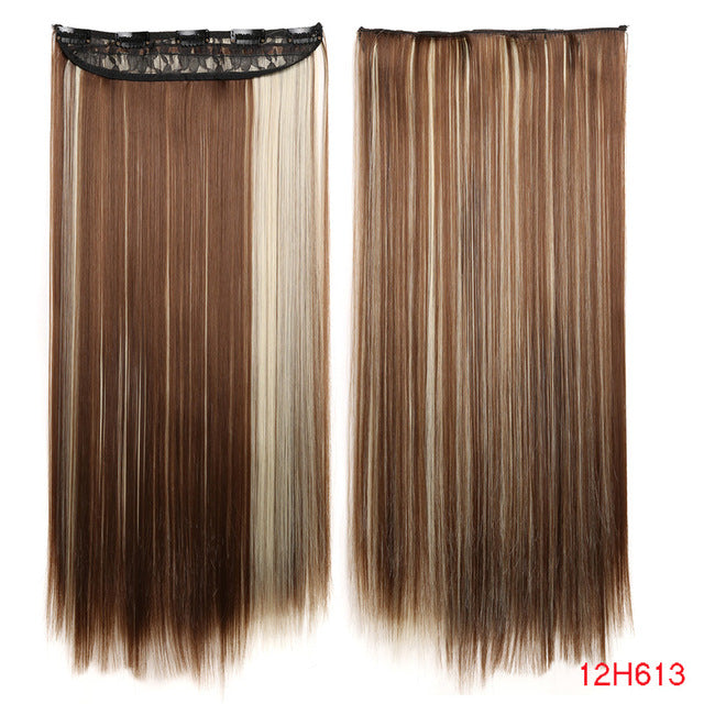 AISI HAIR 22 inch(55cm)  Long Straight Women Clip in Hair Extensions Black Brown High Tempreture Synthetic Hairpiece