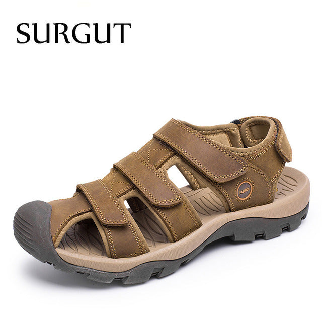 SURGUT Brand New High Quality Men Genuine Leather Sandals Breathable Comfortable Cozy Summer Shoes Fashion Flat Male Sandals-MEN SHOES-US MART NEW YORK
