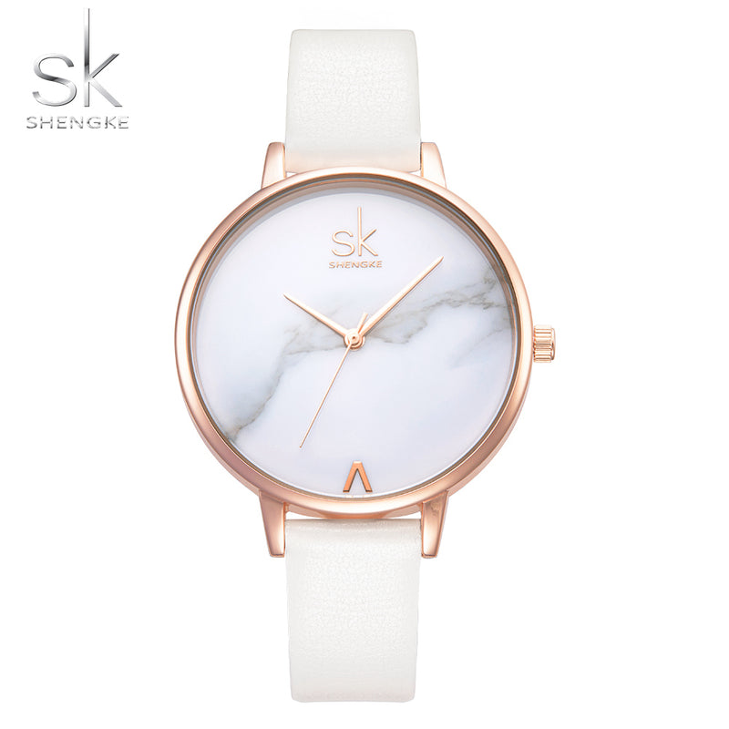 Top Brand Fashion Ladies Watches Leather Female Quartz Watch Women Thin Casual Strap Watch Reloj Mujer Marble Dial SK-WOMEN WATCHES-US MART NEW YORK