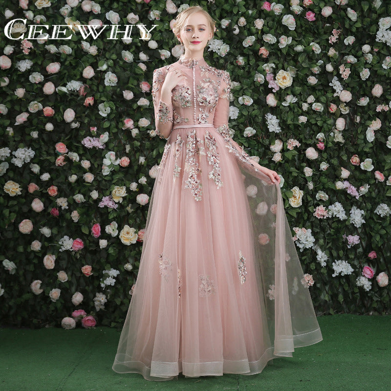 CEEWHY Luxury Prom Dress Real Pictures Evening Dress Long Sleeves Tulle Beading Vintage Formal Dress Embroidery Evening Gown-Dresses-US MART NEW YORK