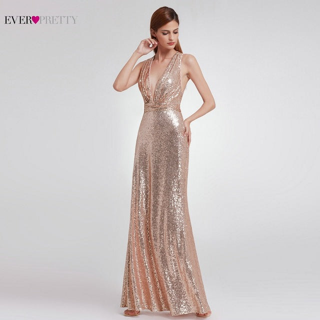 Evening Dress Sparkle Ever Pretty Long Deep V-Neck Natural Waist EP07109GY Mesh Cross Back Shiny Sequin Evening Dress-Dresses-US MART NEW YORK