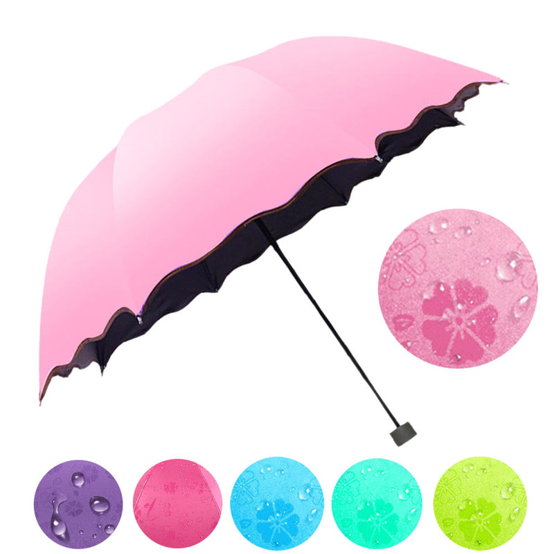 Simple Women Umbrella Windproof Sunscreen Magic Flower Dome Ultraviolet-proof Parasol Sun Rain Folding Umbrellas FG-UMBRELLA-US MART NEW YORK