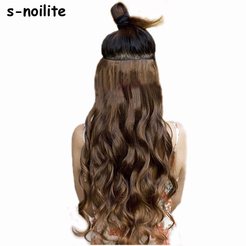 "18-28"" Curly 3/4 Full Head Clip in Hair Extensions Black Brown Blonde Real Natural Synthetic One Piece for human-HAIR EXTENSIONS-US MART NEW YORK"