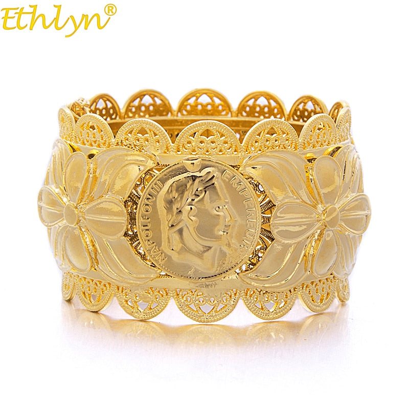 Jewelry Dubai Style Jewelry Napoleon Coin Big Bangle For Women Gold Color Bangles African/India//Middle East-Bracelets-US MART NEW YORK
