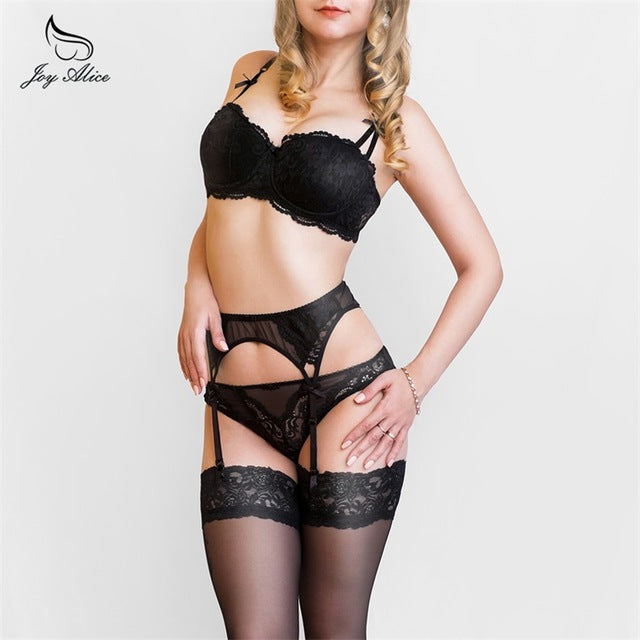 Bra+Panties+Garter New Arrival Suspenders Lace Bra Set panties women's Underwear Set Bra & brief Sets belt Set lingerie-LINGERIE-US MART NEW YORK