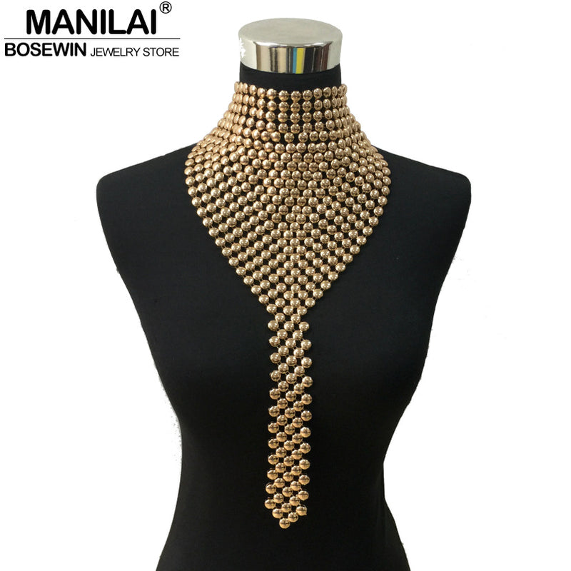 Metal Chokers Jewelry Neck Bib Collar Torques Long Chain Tassels Statement Necklaces-NECKLACES-US MART NEW YORK