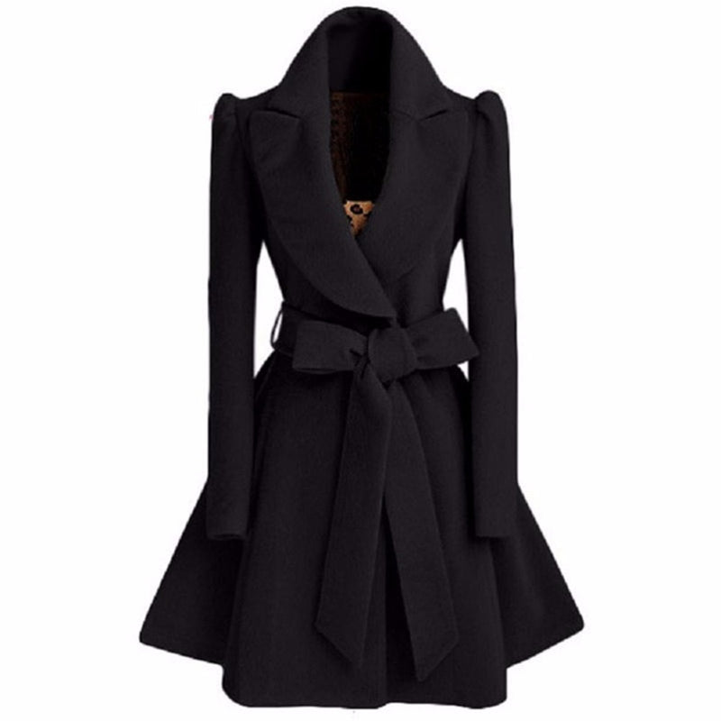 Long trench coat for women Slim female Black red coat-LEATHER JACKETS-US MART NEW YORK