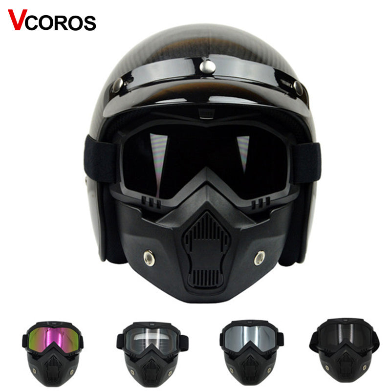Detachable mask goggles for vintage motorcycle helmet monster mask for scooter jet retro moto helmets cosplay mask-Auto Accessories-US MART NEW YORK