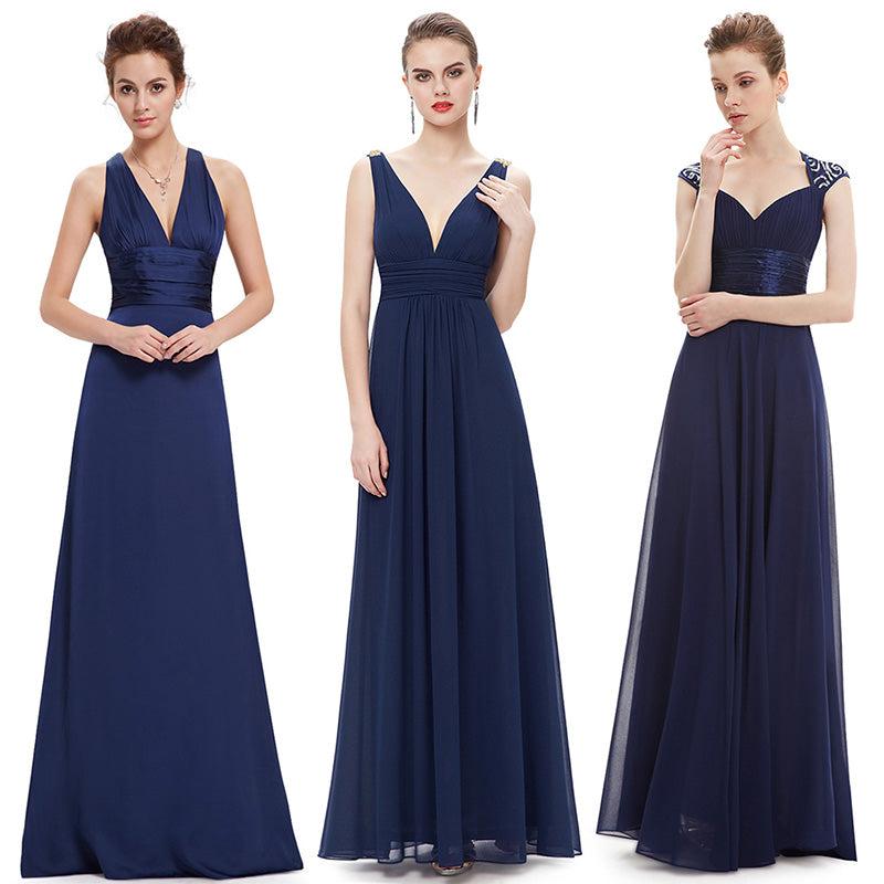Ever Pretty Sexy Women Evening Dresses V-Neck Sleeveless Backless A-Line Slim Chiffon Long Evening Party Dress-Dresses-US MART NEW YORK