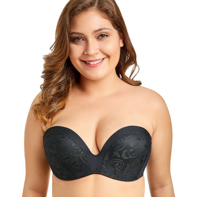 Delimira Women's Slightly Padded Push Up Lace Great Support Strapless Bra-LINGERIE-US MART NEW YORK